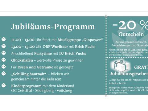 Festprogramm 20 Jahre Schilling