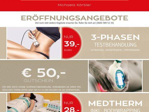 ÄsthetikLounge, Eröffnungsangebote, Michaela Körbler, Schlankheitsbehandlungen, icoone Laser, Bodywrapping mit Medtherm